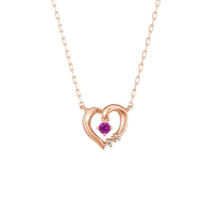 【1月誕生石】K10ピンクゴールド ネックレス