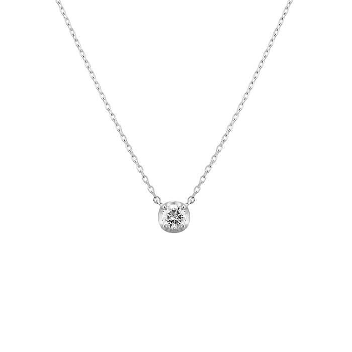 ホワイトゴールドと一粒ダイヤモンドのネックレス