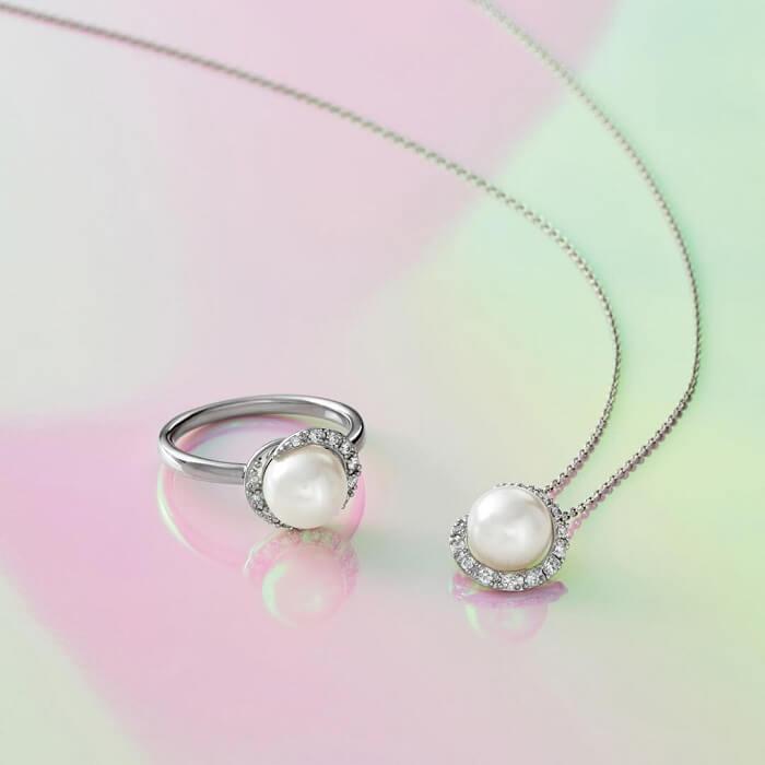 4℃のパールネックレスと指輪