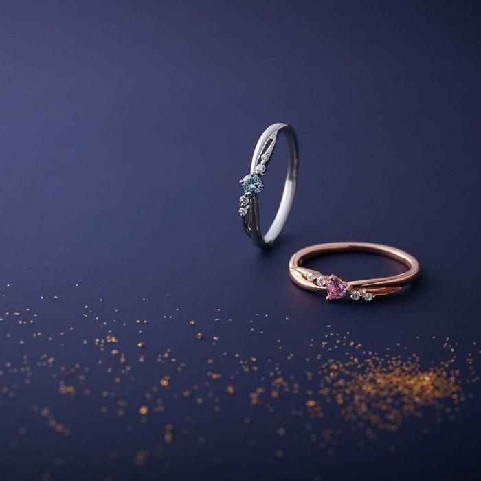 4℃のウェーブラインの指輪
