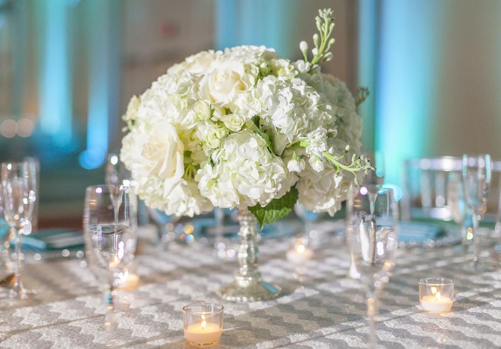 白い花の周りに並べられたグラス