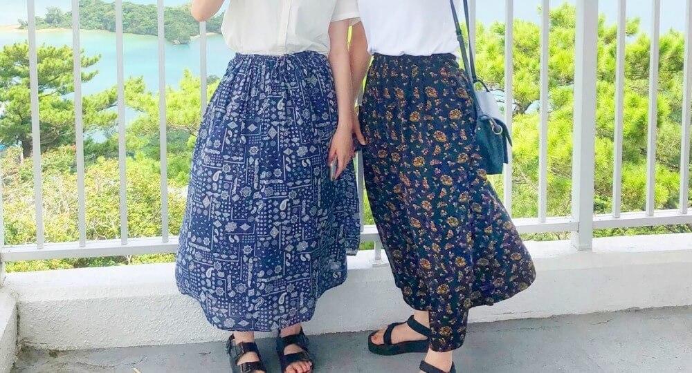柄のフレアスカート