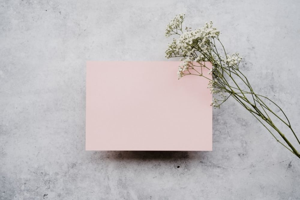 ピンクのメッセージカード