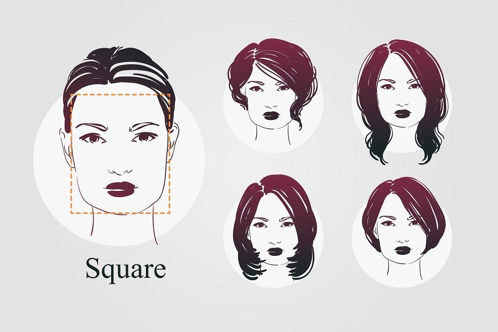 四角顔女性のイラスト