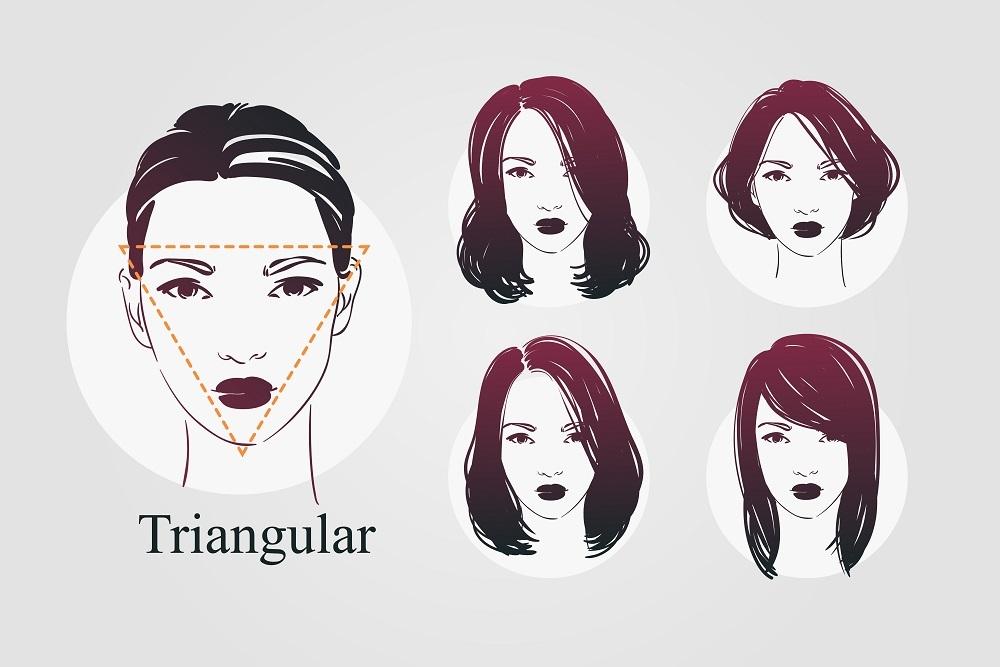 逆三角形顔女性のイラスト