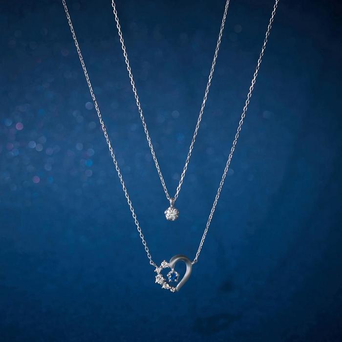 4℃の誕生石×1石ダイヤモンドの重ね着けネックレス